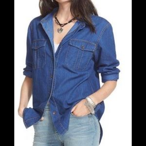 Free people chambray button blouse oversized S